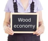 Craftsperson with blackboard: wood economy — Stock Photo
