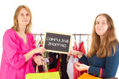 On shopping tour: compulsive shopping — Photo