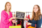 On shopping tour: frantic urge to spend — Stock Photo