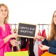 Stock Photo: On shopping tour: compulsive shopping