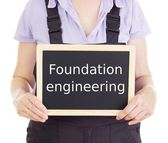 Craftsperson with blackboard: foundation engineering — Stock Photo