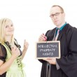 Young woman needs help: intellectual property rights — Stock Photo