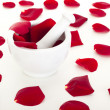 Royalty-Free Stock Photo: Rose petals with mortar