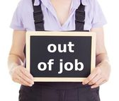 Craftsperson with blackboard: out of job — Stock Photo