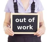 Craftsperson with blackboard: out of work — Stock Photo
