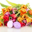 Bunch of tulips with easter eggs — Stock Photo