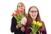 ženy s tulipány — Stock fotografie