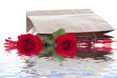在袋子里的玫瑰 — 图库照片