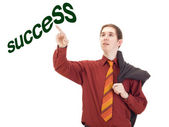 Young businessman taping on the word success — Stock Photo