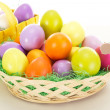 Easter eggs in baskets — Stock Photo