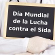 Blackboard : World AIDS Day : Spanish language - Stock Photo
