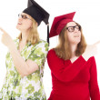 Two happy female graduates — Stock Photo