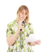 Beautiful woman giving a presentation — Stock Photo