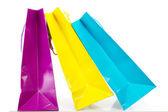 在白色背景上一些彩色购物袋 — 图库照片
