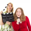Two women working in the entertainment industry — Stock Photo