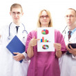 Stock Photo: Team of medical doctors presenting good investigative results