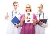 Team of medical doctors presenting good investigative results — Stock Photo