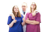 Having fun at work in medical industry with nice people — Stock Photo