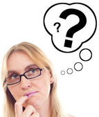 Beautiful woman thinking about question — Stock Photo