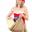 Mrs. Claus having many nice gifts for christmas — Stock Photo #37573209