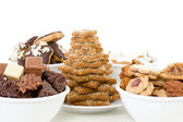 Dishes filled with fresh baked christmas cookies — Stock Photo