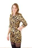Attractive woman wearing elegant golden dress — Stock Photo