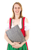 Bavarian woman with some documents — Stock Photo