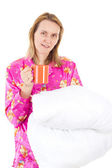 Blond woman starts new day with cup of tea — Stock Photo