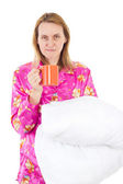 Tired woman needs coffee in the morning — Stock Photo
