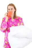Sleepy woman drinking morning coffee — Stock Photo