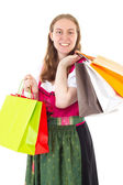 She loves it to go on shopping tour — Stok fotoğraf
