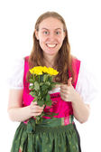 Youngster bought yellow roses for mothers day — Stock Photo