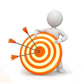 ARROWS ON TARGET WITH FIGURE — Stock Photo