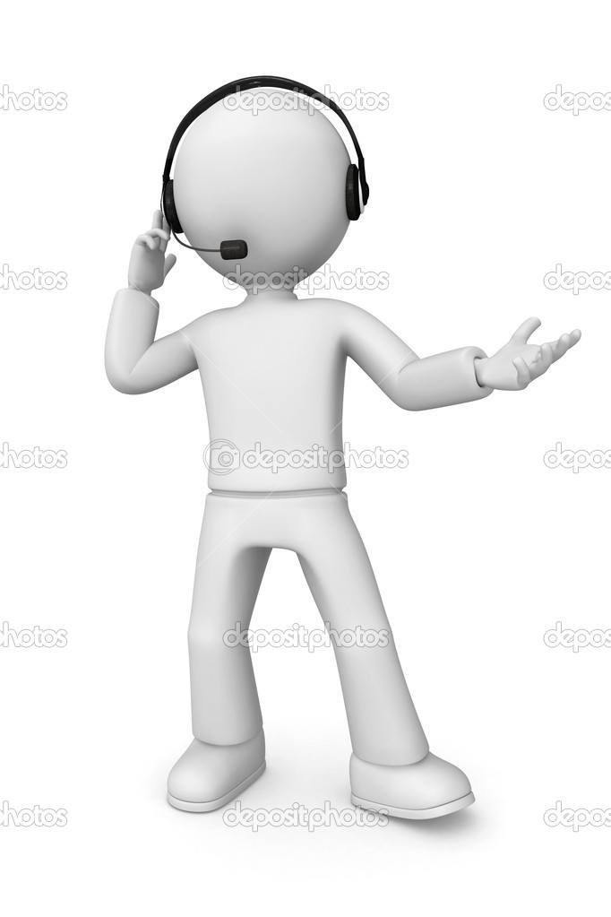 3D abstract man wearing a headset with a microphone. — Stock Photo #12582247
