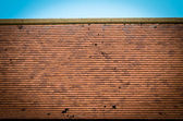 Old brown red rooftop against blue sky — Stock Photo