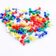 Set of pushpin in heart shape for love concept — Stock Photo