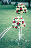 Wedding bouquet set up in evening outdoor in vintage style — Stock Photo