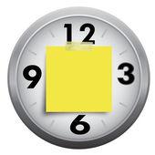 Часы с липкой бумаги Примечание, изолированные на белом фоне — Стоковое фото