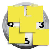 Clock with sticky paper note isolated on white background — Stock Photo