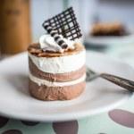 Chocolate moose dessert on a white plate — Stock Photo #31785239