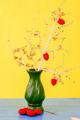 Red betel nuts hanging on a palm branch in vase — Stock Photo