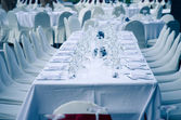 Wedding chair and table setting for fine dining at outdoors — Stock Photo