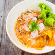 Pork noodle with Soft-boiled egg on wooden table — Stok fotoğraf