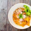 Prawn mee or prawn noodles on wooden background — Stock Photo