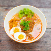 Springy Noodles with Steaming Hot and Spicy Soup,Tonkatsu noodle — Stock Photo