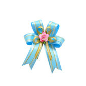 Blue bow for festive isolated on with white with clipping path — Stock Photo