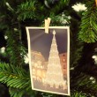 Postcard on christmas tree decoration, with retro filter effect. — Stock Photo #37620593