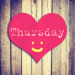 Love Thursday on red heart shape with wooden wall — Stock Photo