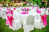 Romantic set up dinner table set for wedding dinner — Stock Photo
