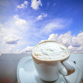 Coffee on Wooden Table With Blue Sky — Stock Photo